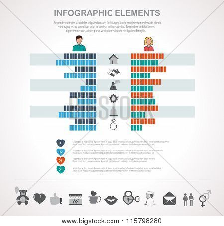 Valentines Day Infographics Template And Icons