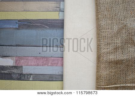 Linen And Burlap Tablecloth On Wooden Table.