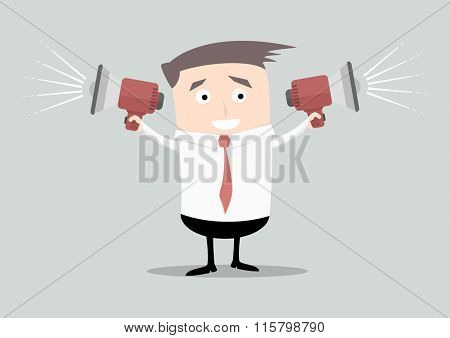 minimalistic illustration of a businessman holding loudspeakers in both arms, eps10 vector