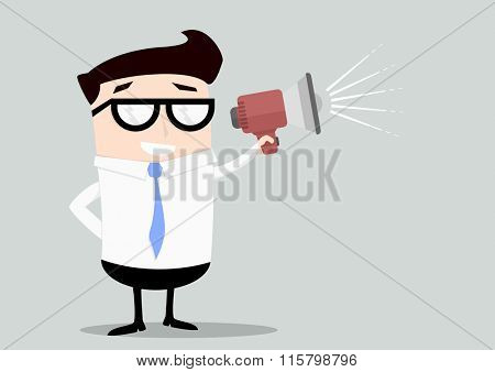 minimalistic illustration of a businessman holding a loudspeaker, eps10 vector