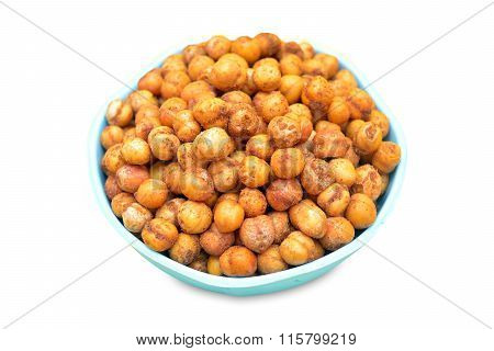 Fried chole in bowl isolated on white background