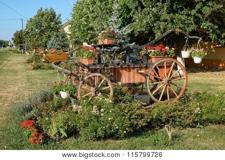 old horse-drawn hand pump fire engine festooned with flowering plants  in Ortisoara, Romania
