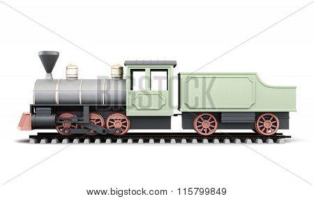 Old locomotive on a white background. 3d render image.