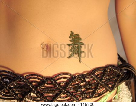 Chinese character tattoo next to belly button