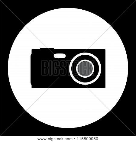 Compact Camera Simple Isolated Black Icon Eps10