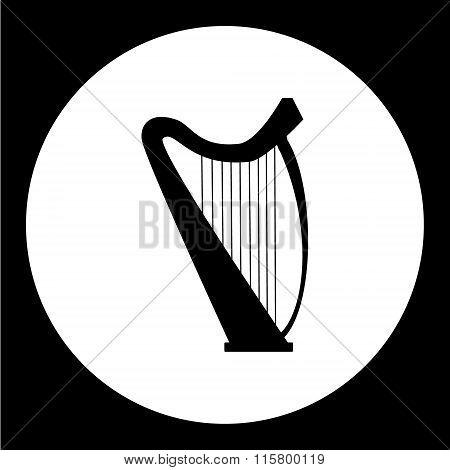 Isolated Music Harp Simple Black Icon Eps10
