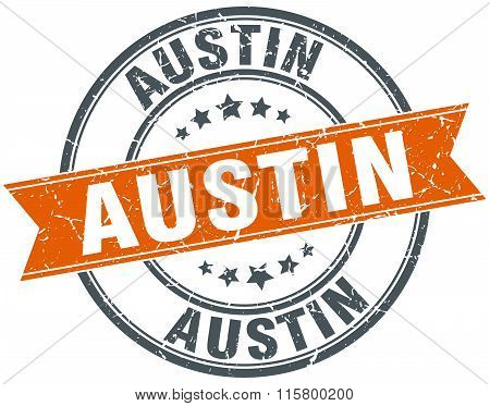 Austin orange round grunge vintage ribbon stamp