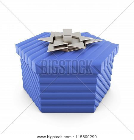 Blue gift box isolated on white background. 3d rendering.