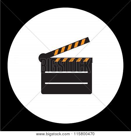 Black Film Movie Flap Simple Icon Eps10
