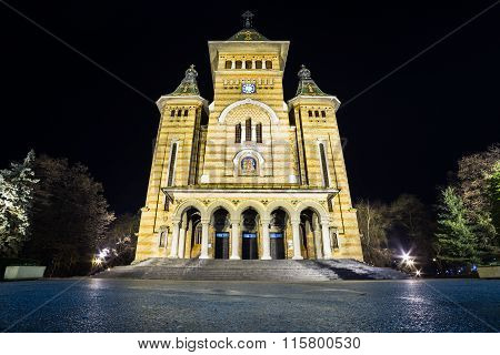 Cathedral Of Timisoara At Night