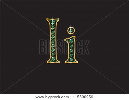 Ii In Emerald Jeweled Font With Gold Channels