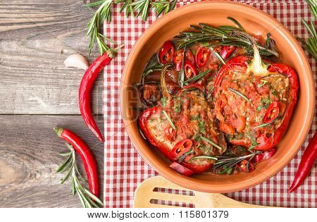 Stuffed Red Peppers With Spicy Tomato Sauce And Rosemary
