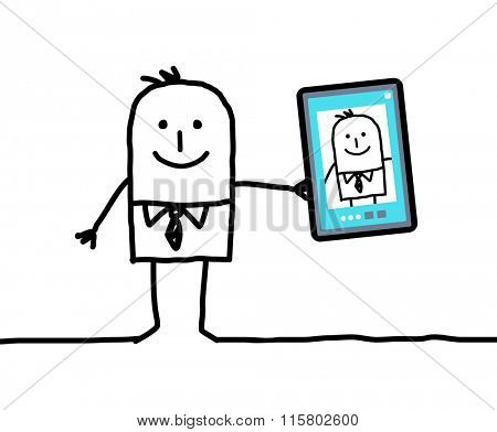 cartoon businessman taking a picture of himself