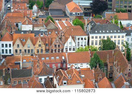 Old Traditional Flemish Houses In Brugge, Belgium