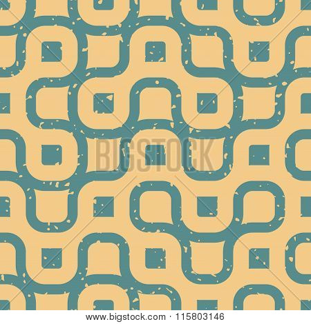 Vector Seamless Wavy Lines Irregular Retro Grungy Blue Tan Pattern