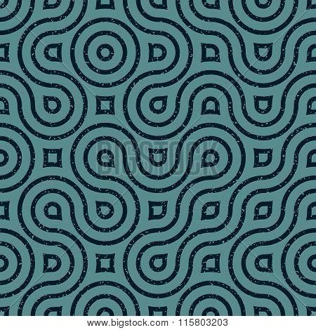 Vector Seamless Wavy Lines Irregular Retro Grungy Navy Blue Grunge Pattern