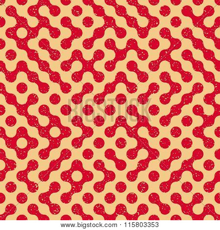 Vector Seamless Wavy Truchet Irregular Retro Grungy Red Tan Pattern