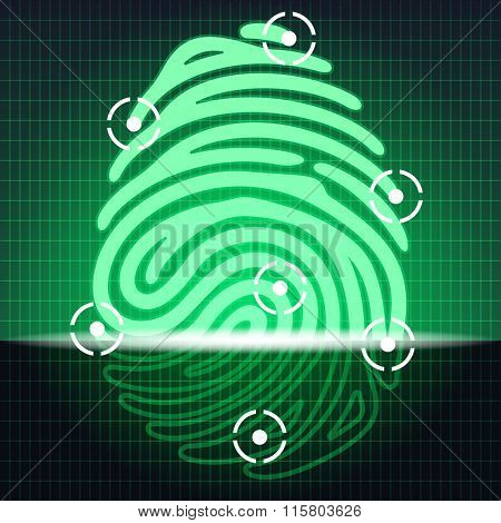 fingerprint identification system. Security systems. Electronic scheme green glowing finger print. Vector illustration