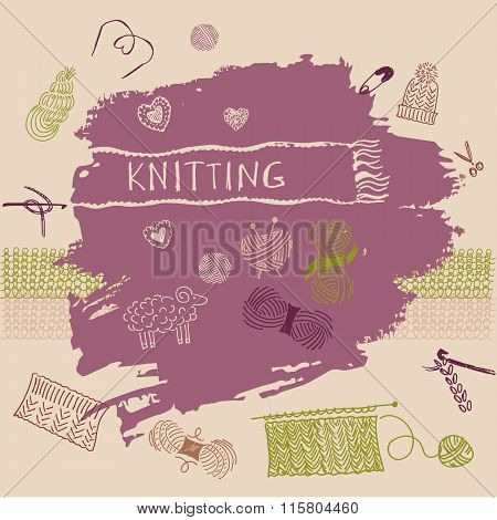 Vector banner. Crafts, knitting and crochet. Master classes in n