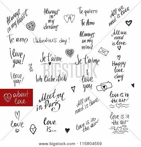 About love lettering collection. Handdrawn typography. I love yo