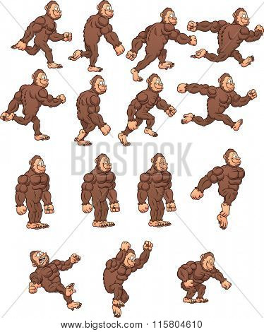 Cartoon gorilla, ready for animation. Vector clip art illustration with simple gradients. Each on a separate layer.