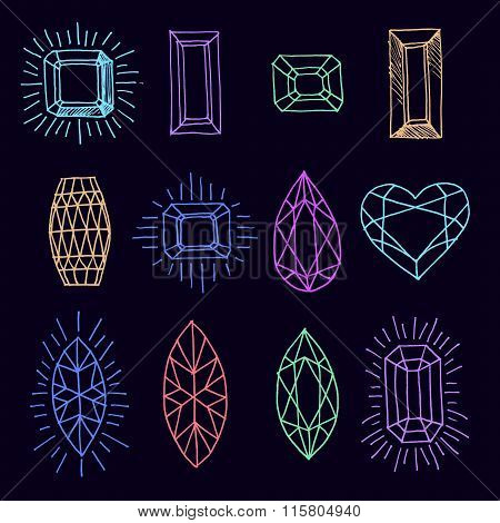 Vector geometric hand drawn illustration of faceted stones.