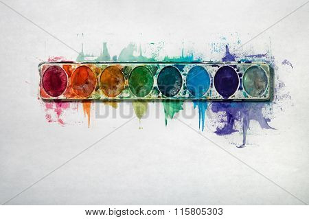Watercolor Paint Tray On A White Background