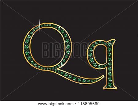 Qq In Emerald Jeweled Font With Gold Channels