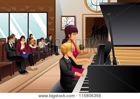 Boy In Piano Recital