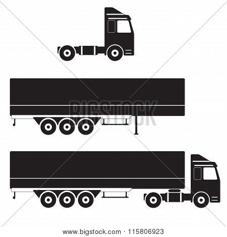 Truck with cargo container. Vector Illustration.