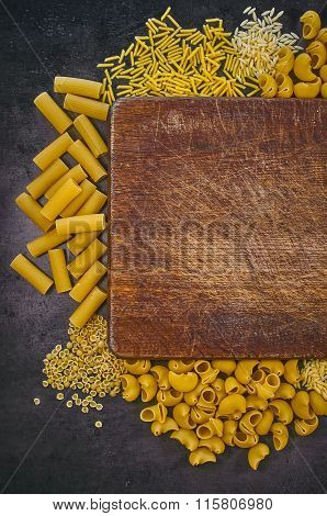 Set Of Pasta On A Dark Background