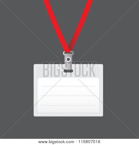 Lanyard with Tag Badge Holder or retractor end badge. Vector Illustration.