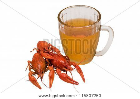 Photo Of Boiled Crayfish With A Beer Glass