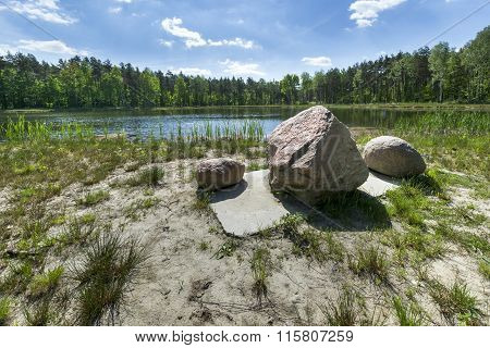 Glacial Stones On The Forest Lake