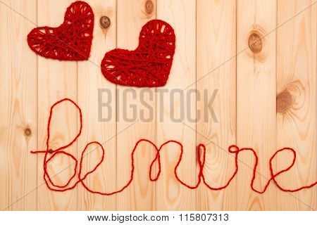 Valentines Day. Knitted Decorations Hearts. Be Mine