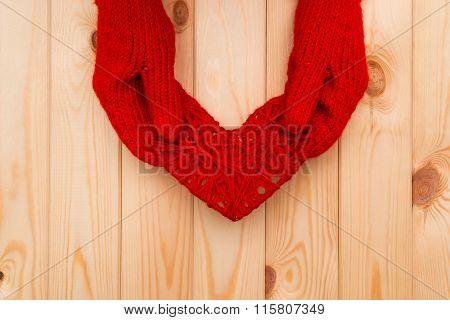 Valentines Day Background. Girl In Mittens Gives A Heart