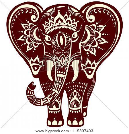 Decorated stylized elephant