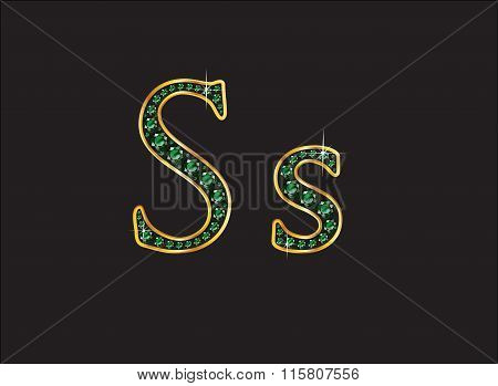 Ss In Emerald Jeweled Font With Gold Channels