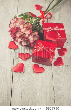 Red Gift Box And Bouquet