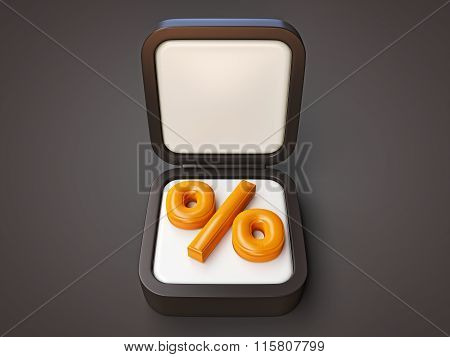 Percentage Symbol Black Box Isolated