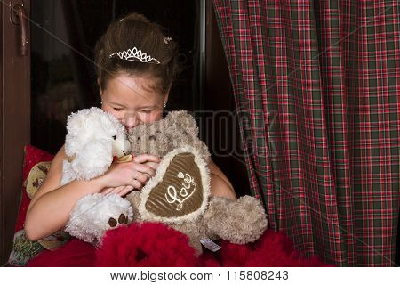 Girl In Red Dress,  Hugging Two Plush Bears, Background For Valentine's Day Celebration