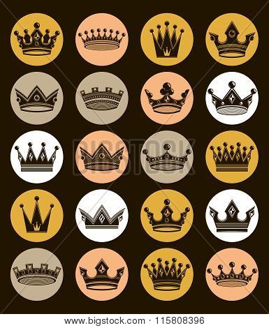 Set Of 3D Golden Royal Crowns Isolated. Majestic Classic Vector Symbols, Coronet Collection. Web And