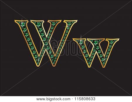 Ww In Emerald Jeweled Font With Gold Channels
