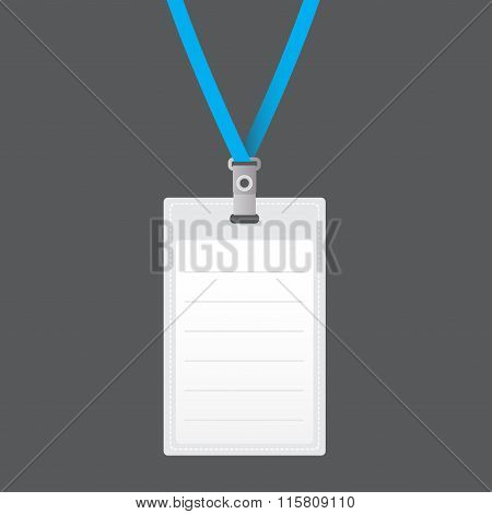 Blank vector vertical badge holder with lace. Isolated on grey background for design and branding.