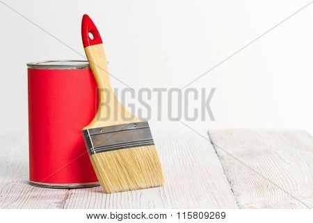 Paint Can Brush, Lacquer Wood Floor On White Wall