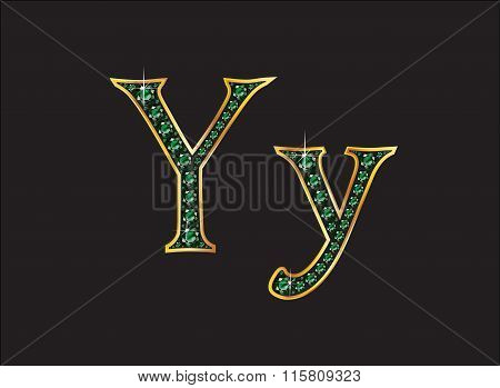 Yy In Emerald Jeweled Font With Gold Channels