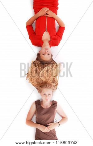 Portrait Two Girls With Intertwined Hairs