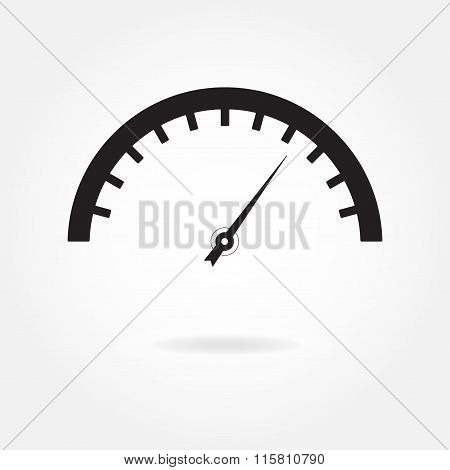 Speedometer icon. Meter and gauge element. Isolated vector illustration.