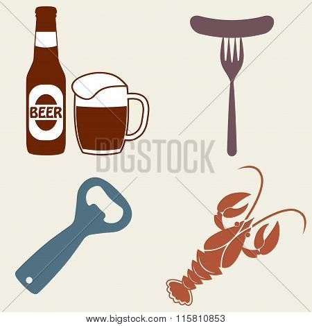 Beer icons set. Beer bottle, mug, opener, crawfish. Vector symbols and design elements.