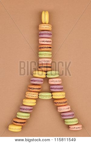 Macarons Eiffel Tower french sweet colorful